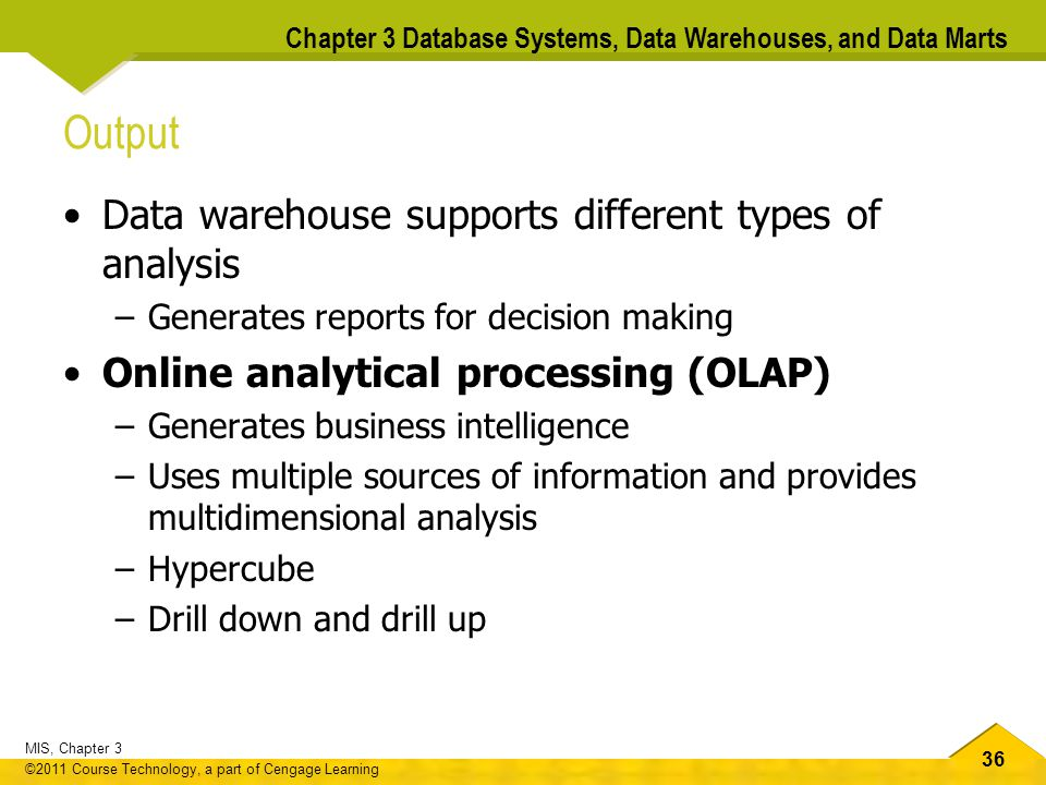 Output Data warehouse supports different types of analysis