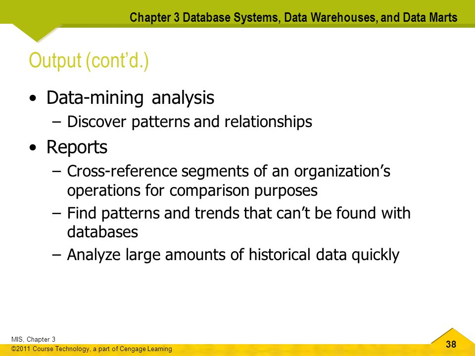 Output (cont'd.) Data-mining analysis Reports