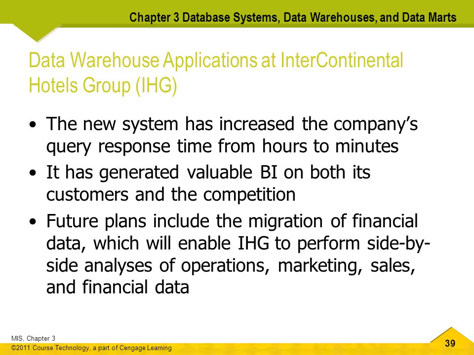 Data Warehouse Applications at InterContinental Hotels Group (IHG)