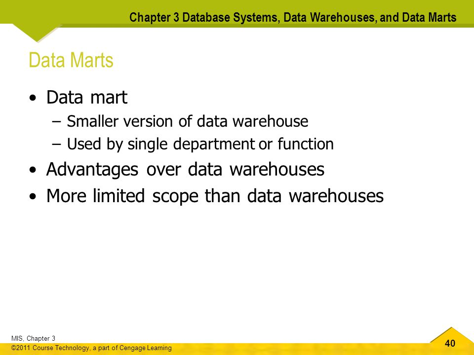 Data Marts Data mart Advantages over data warehouses