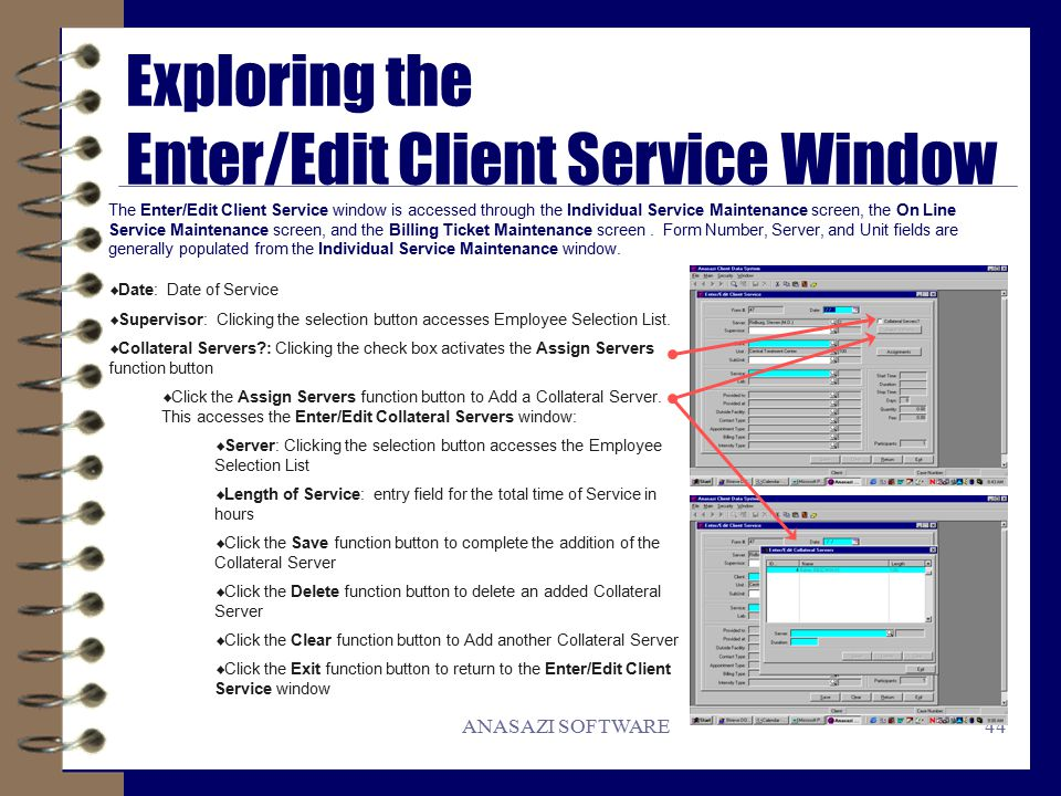 ANASAZI SOFTWARE Windows Client Data System Quick Reference Guide ...