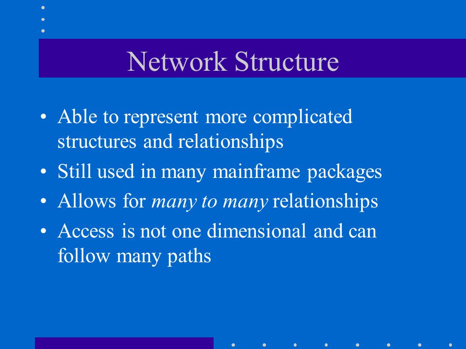 Network Structure Able to represent more complicated structures and relationships. Still used in many mainframe packages.