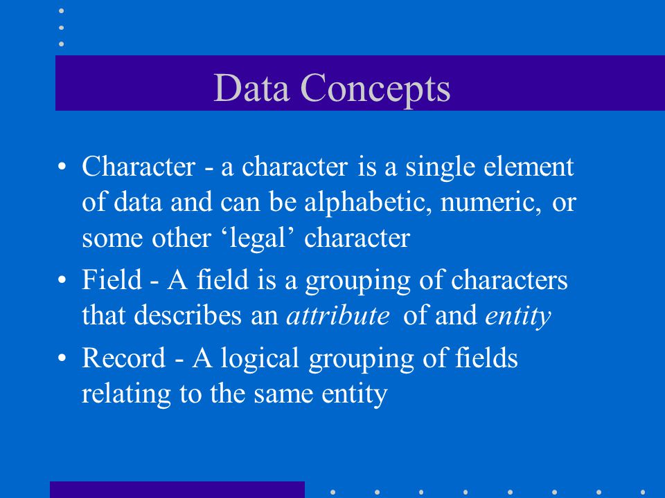 Data Concepts Character - a character is a single element of data and can be alphabetic, numeric, or some other 'legal' character.