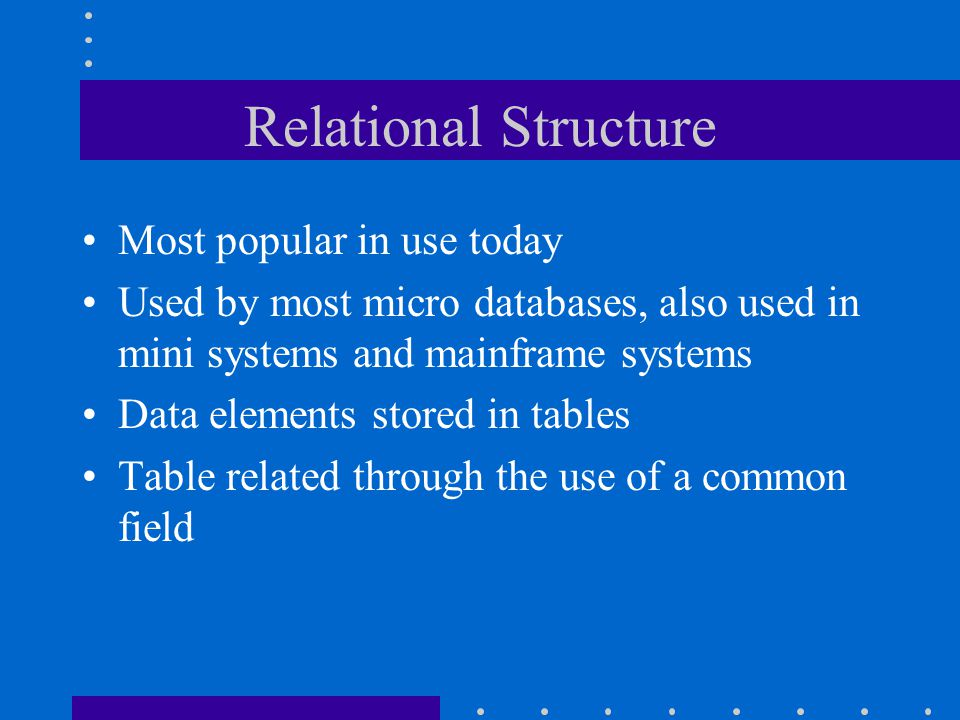 Relational Structure Most popular in use today