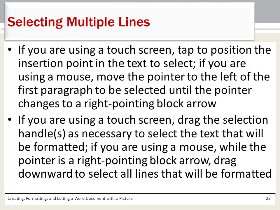 Selecting Multiple Lines