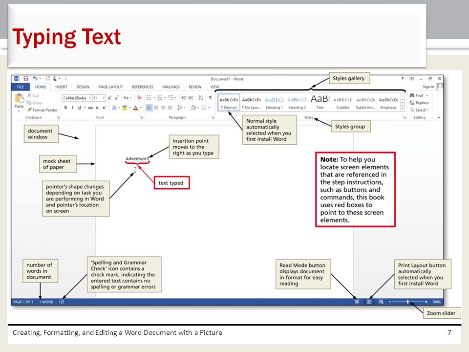 Typing Text Creating, Formatting, and Editing a Word Document with a Picture