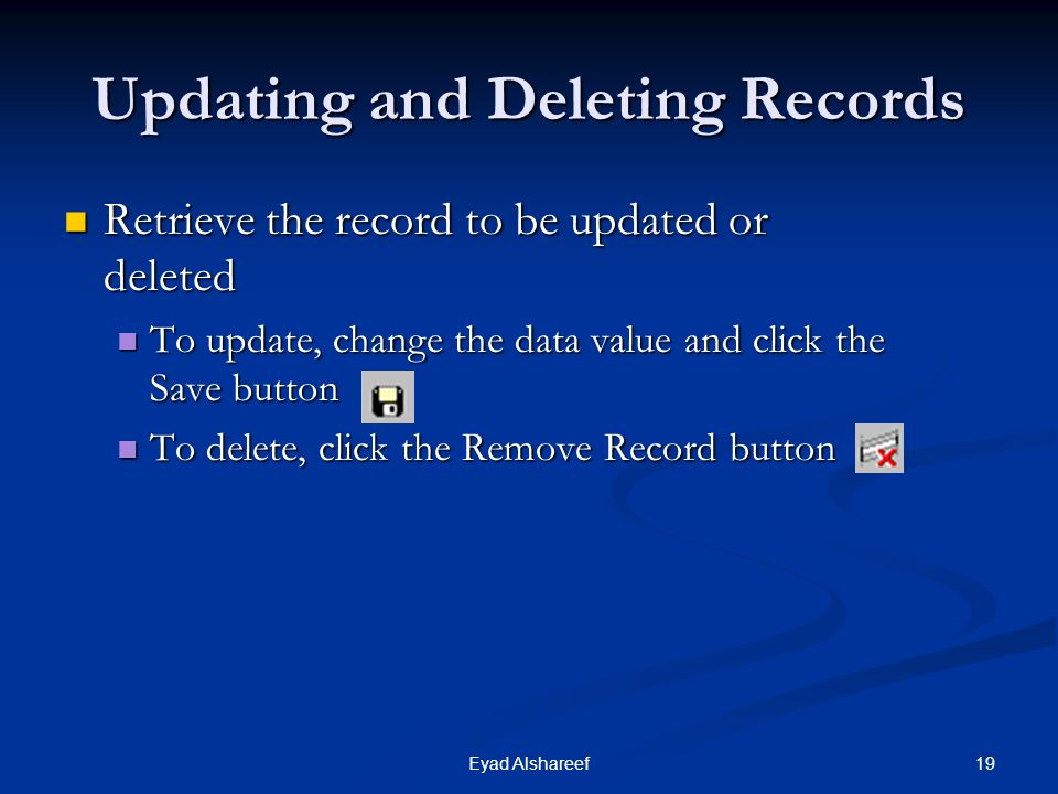 Updating and Deleting Records