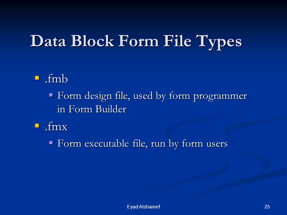 Data Block Form File Types