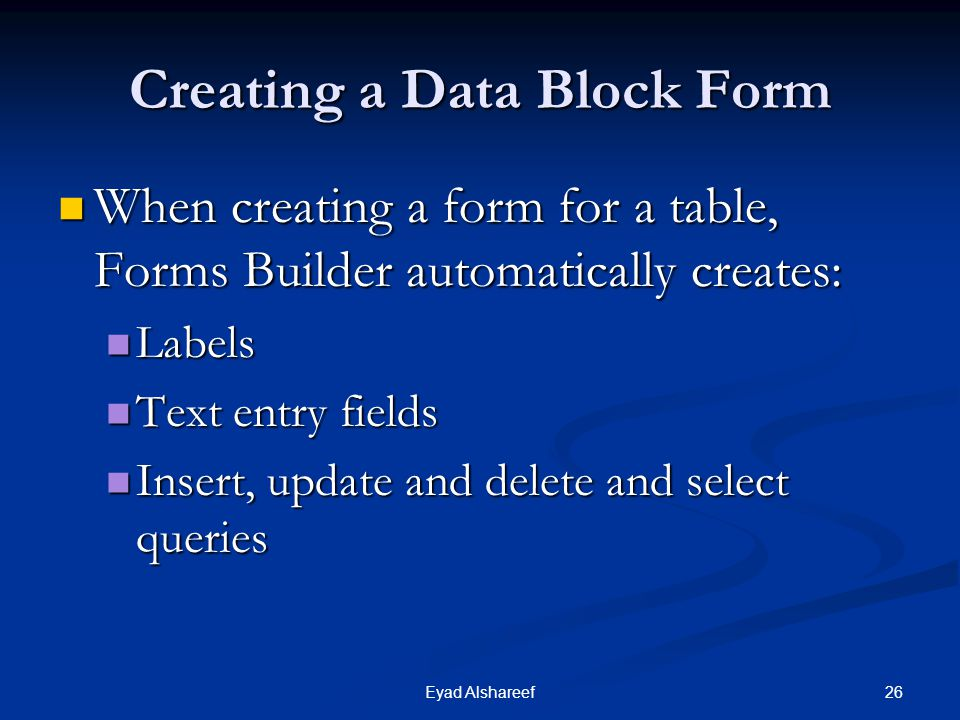 Creating a Data Block Form