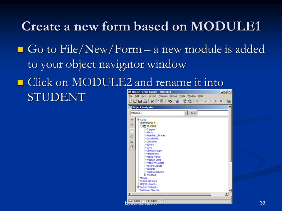 Create a new form based on MODULE1
