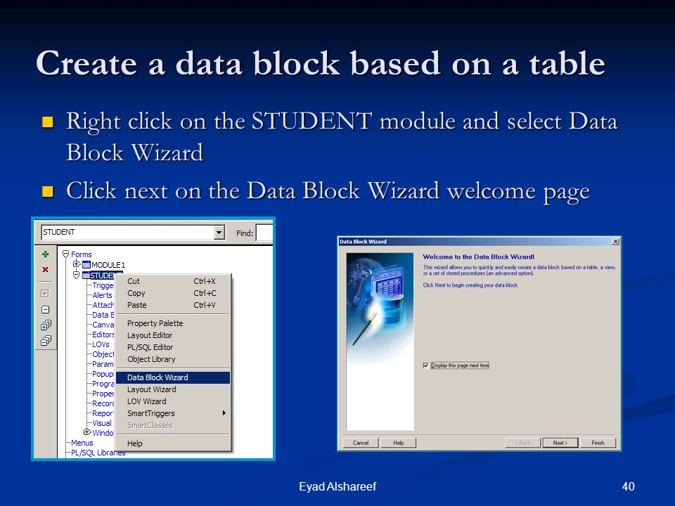 Create a data block based on a table