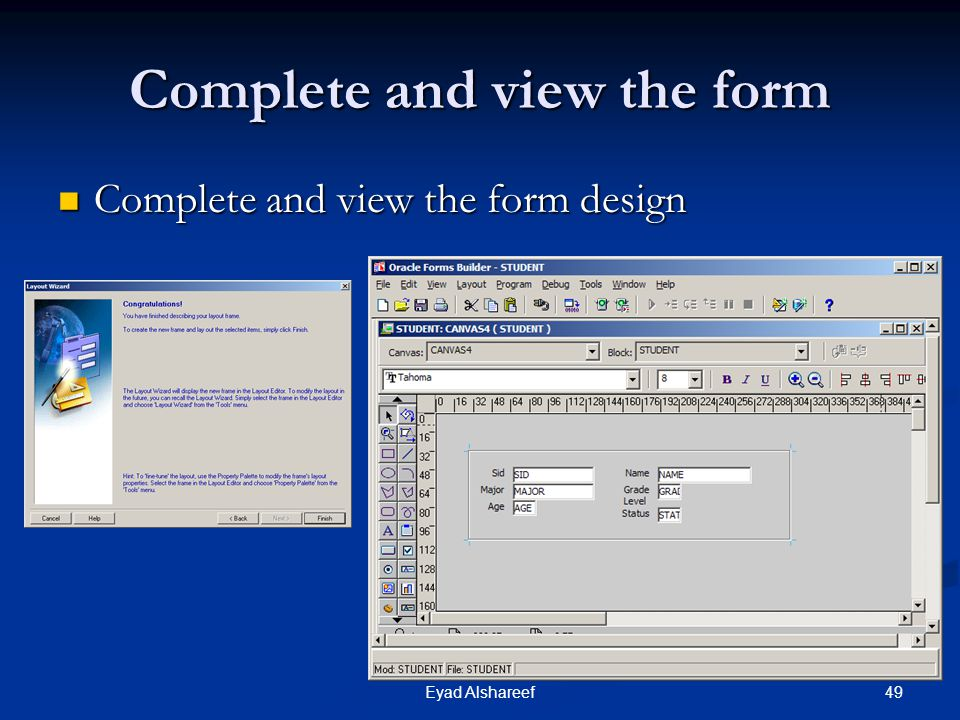 Complete and view the form