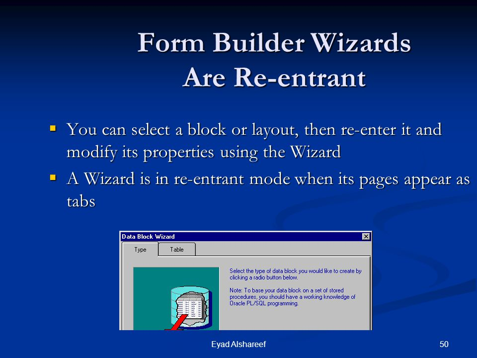 Form Builder Wizards Are Re-entrant