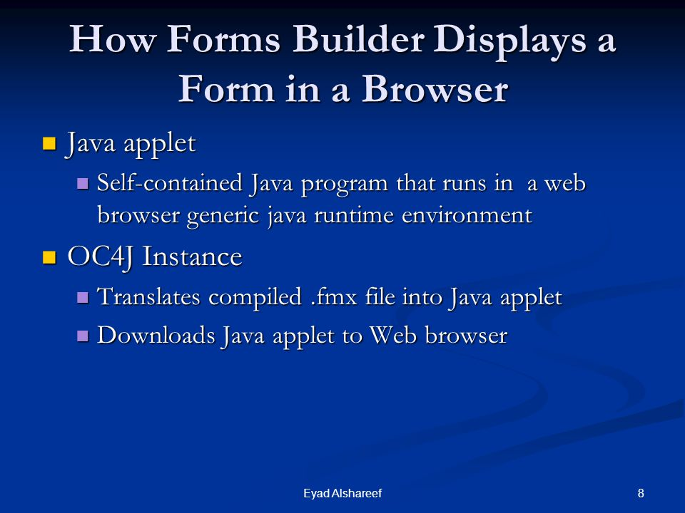How Forms Builder Displays a Form in a Browser