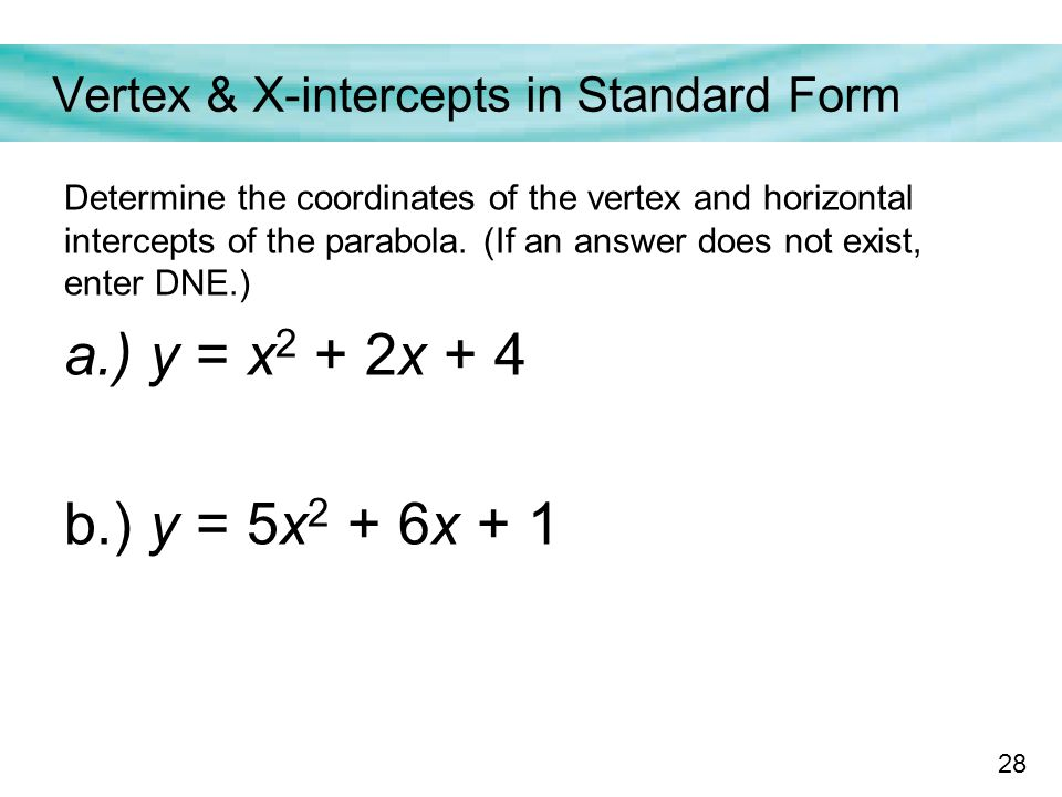 how to find x intercepts from standard form parabola