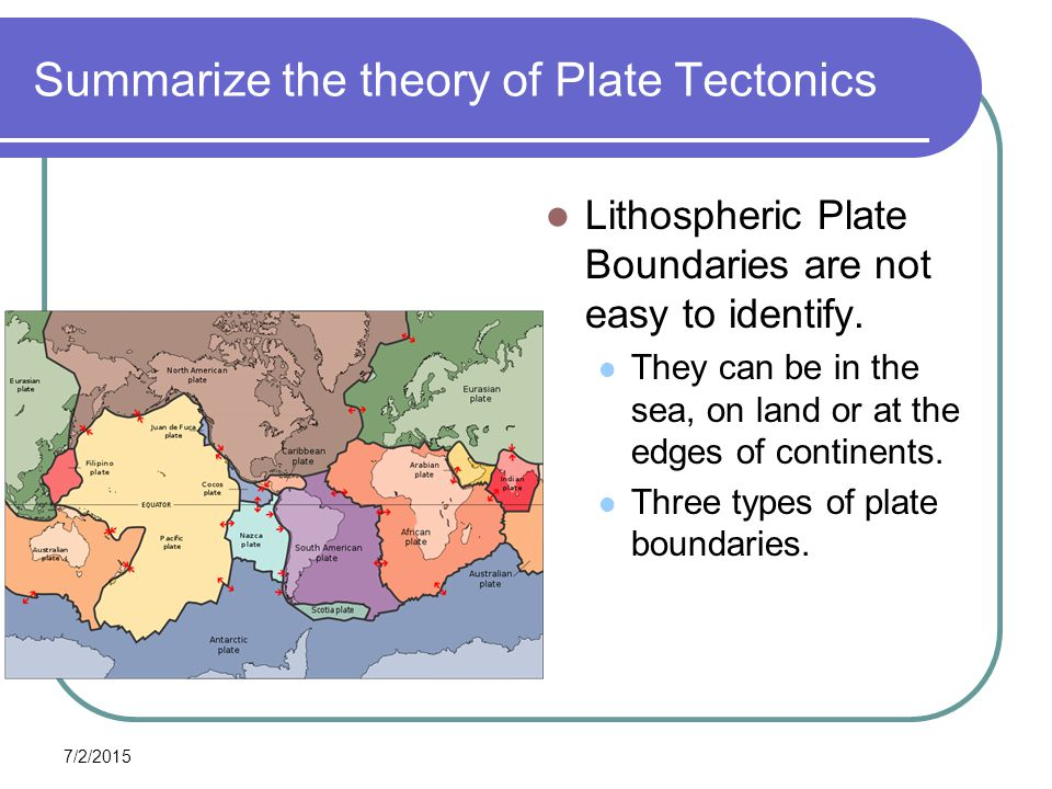the theory of plate tectonics and the three types of plate boundaries Plate tectonics, theory dealing with the dynamics of earth's outer shell,  thelithosphere, that  chemically, earth can be divided into three layers  plates  b and c results in several types of simultaneous interactions along the plate  boundaries.