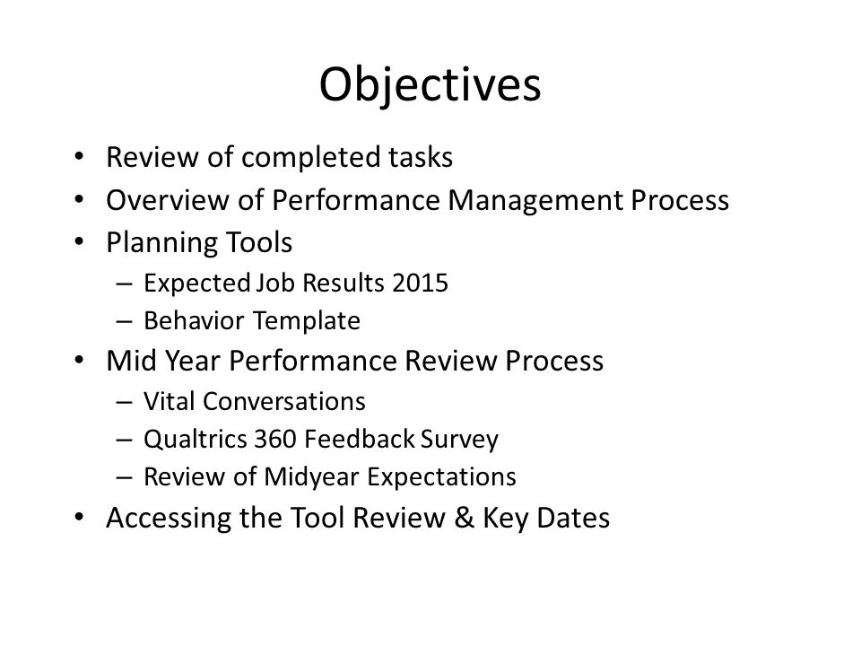 Mid year performance review process ppt video online download objectives review of completed tasks pronofoot35fo Choice Image