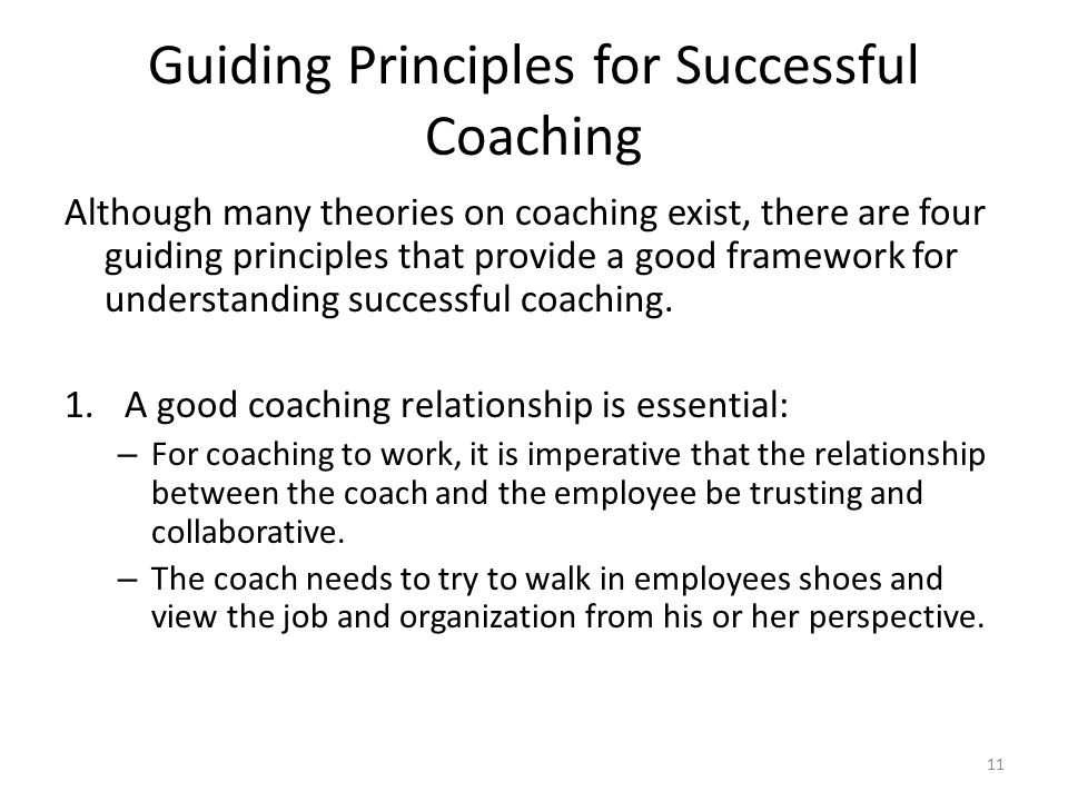 Guiding Principles for Successful Coaching