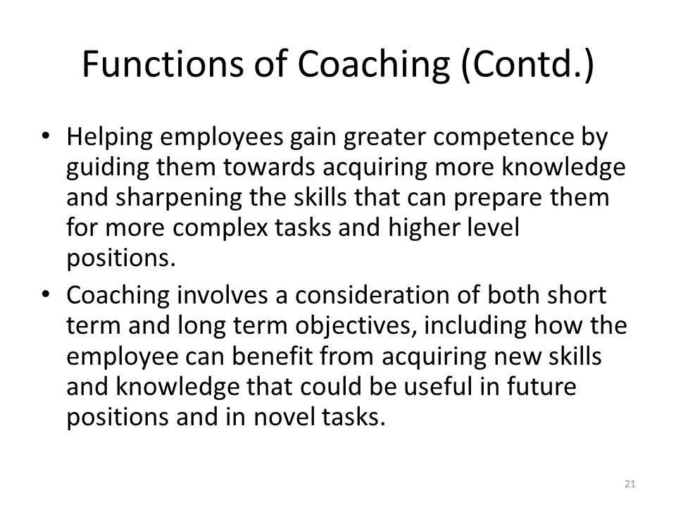 Functions of Coaching (Contd.)