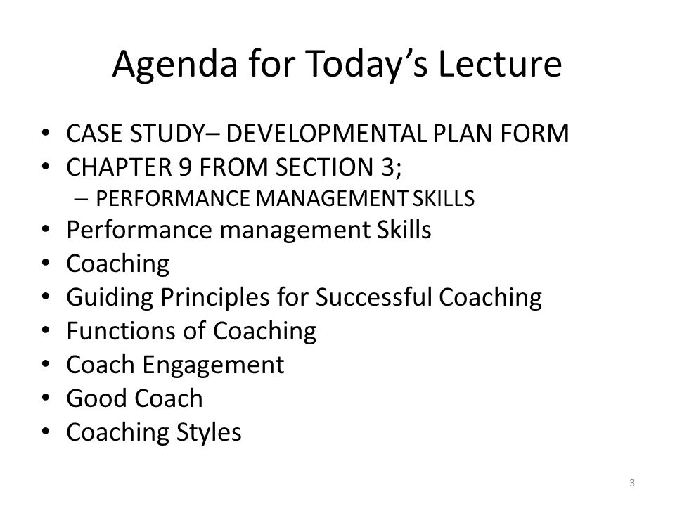Agenda for Today's Lecture