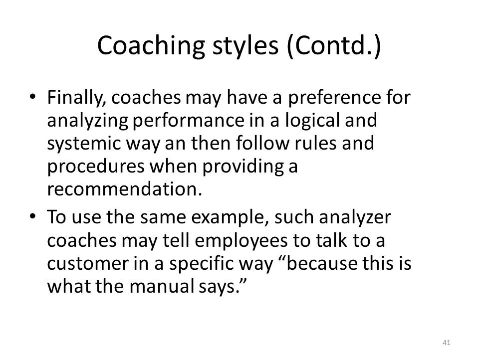 Coaching styles (Contd.)