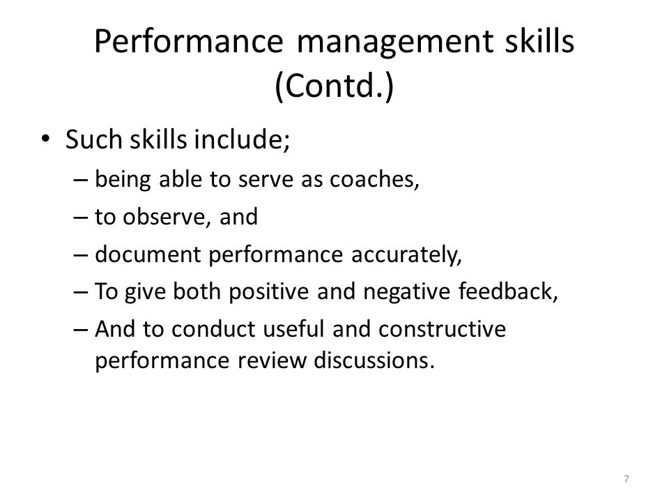 Performance management skills (Contd.)