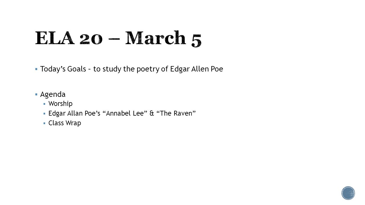 "annabel lee essay prompts Edgar allen poe's poem ""annabel lee"" represents the death of annabel lee the poem describes the underlying love the speaker has for annabel lee, which."