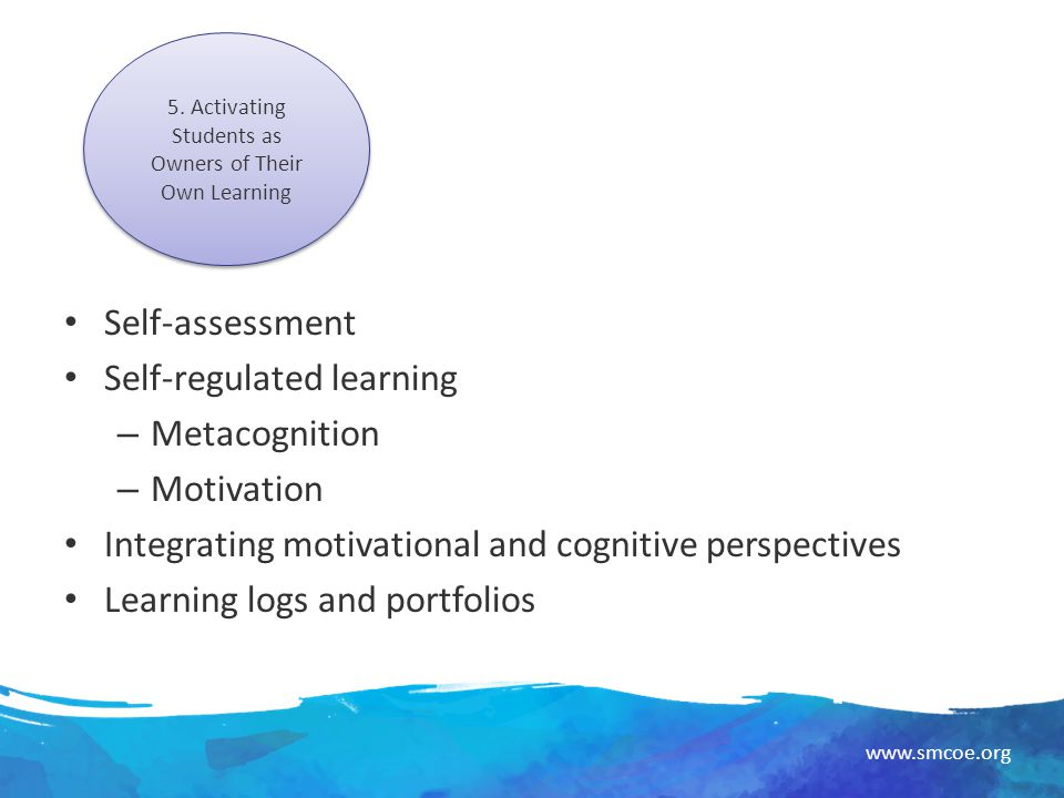 metacognition and self assessment By practicing and applying metacognitive strategies metacognition is a three-part process (fogarty 1994) to be successful thinkers, students must: write comments or questions on self-stick notes or in the margins.
