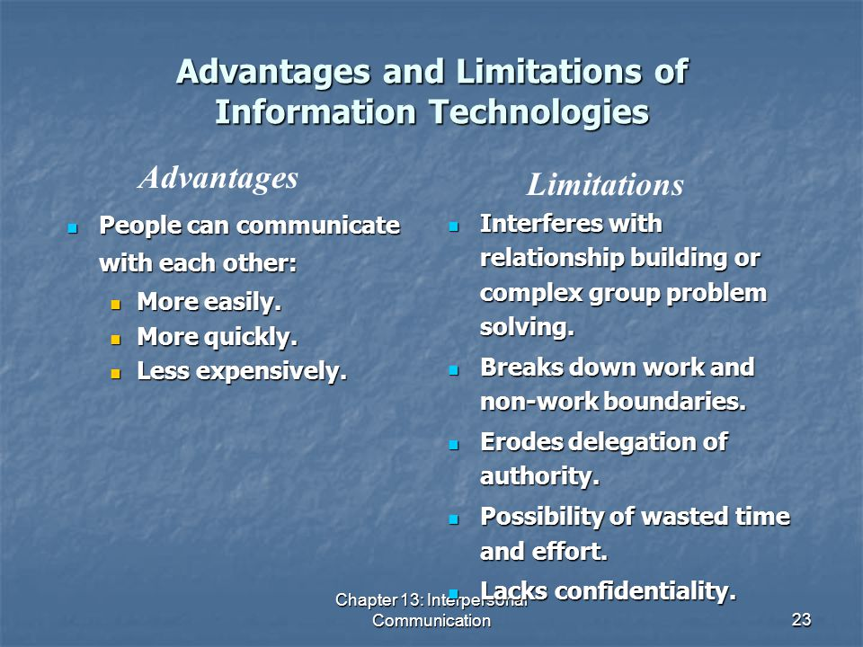 Advantages and Limitations of Information Technologies