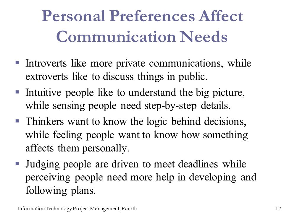 Personal Preferences Affect Communication Needs