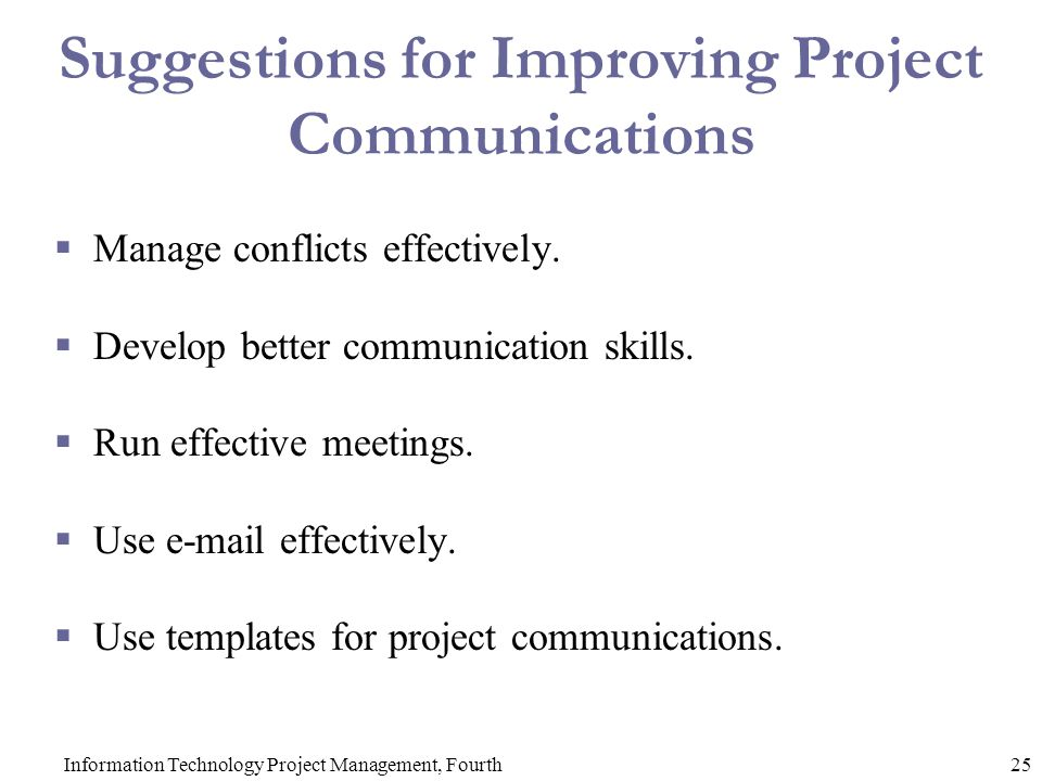 Suggestions for Improving Project Communications