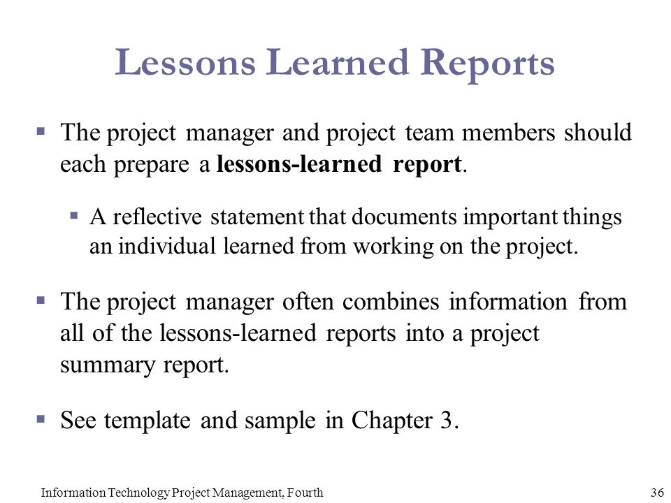 Lessons Learned Reports