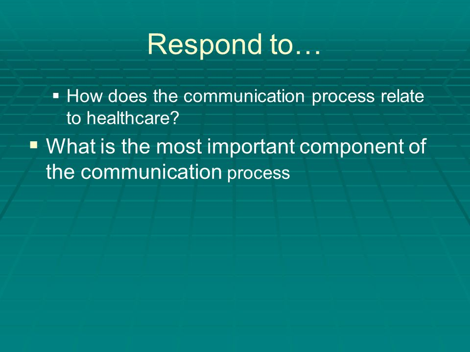 Respond to… How does the communication process relate to healthcare.