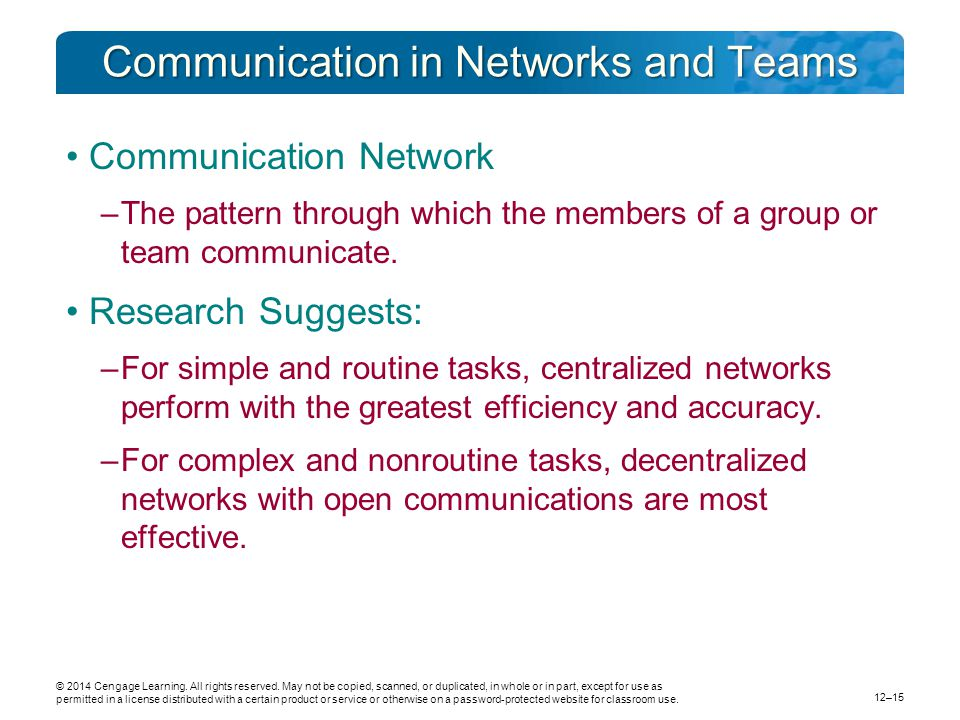 Communication in Networks and Teams