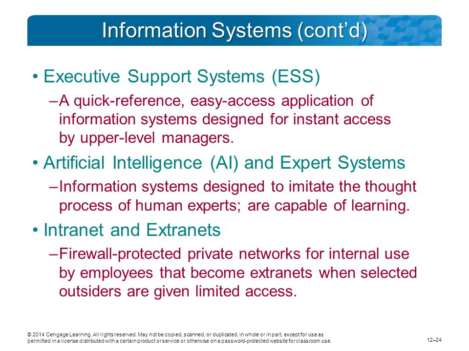 Information Systems (cont'd)