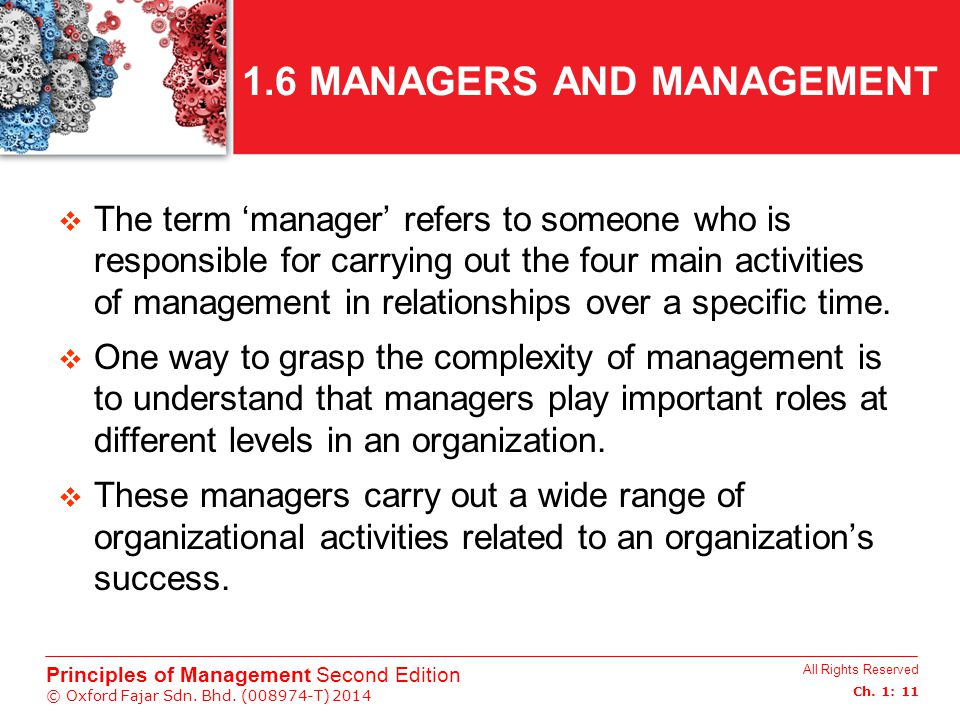 1.6 MANAGERS AND MANAGEMENT