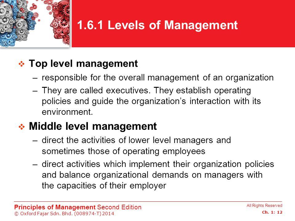 1.6.1 Levels of Management Middle level management