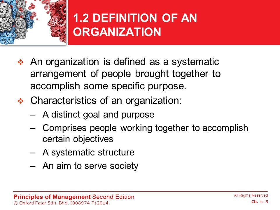 1.2 DEFINITION OF AN ORGANIZATION