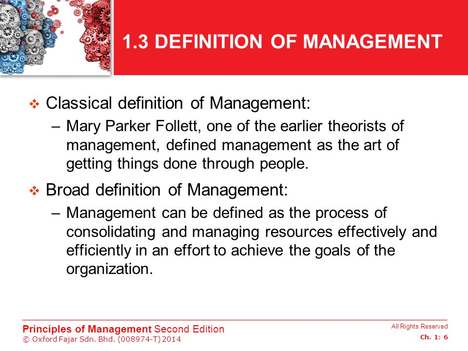 1.3 DEFINITION OF MANAGEMENT