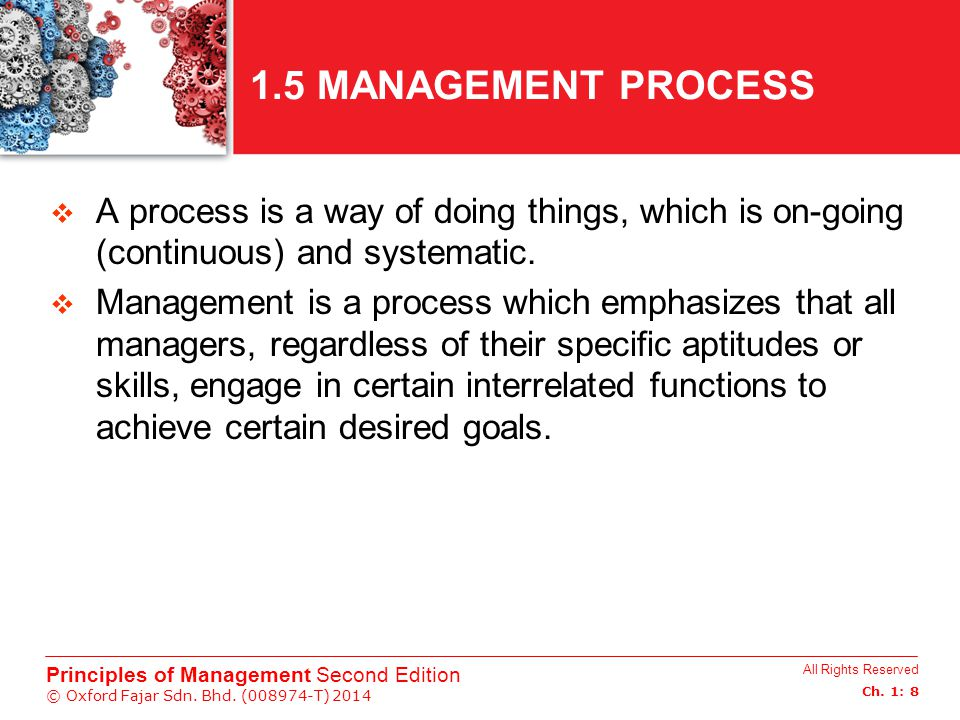1.5 MANAGEMENT PROCESS A process is a way of doing things, which is on-going (continuous) and systematic.