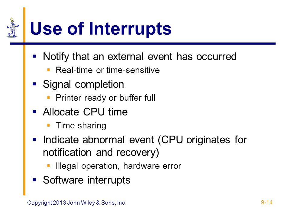 Use of Interrupts Notify that an external event has occurred
