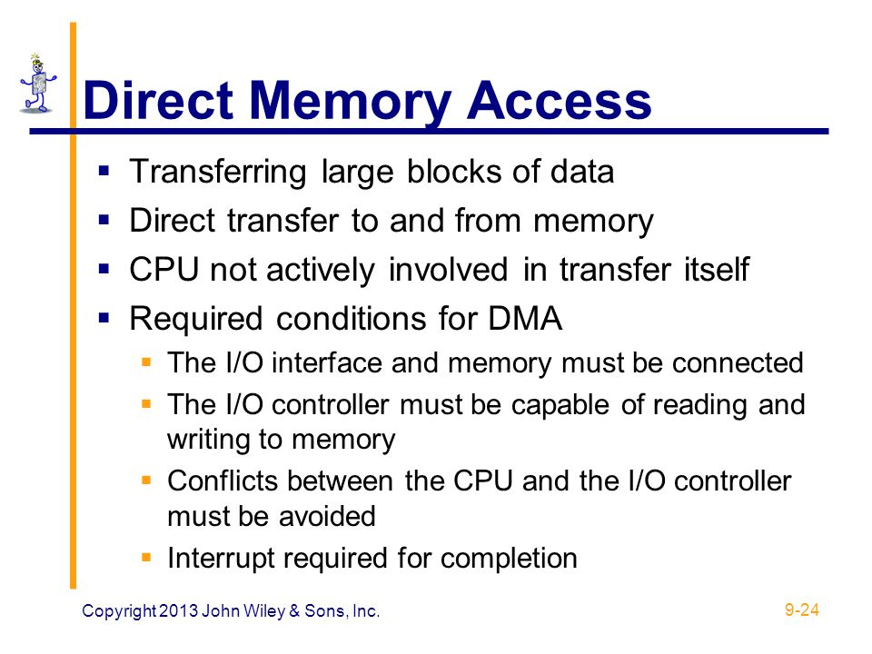 Direct Memory Access Transferring large blocks of data