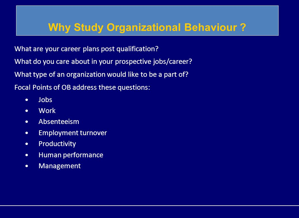 focal point of organizational behaviour Ii the sixth chapter is a comprehensive outline of international organizational behavior it deals with definition of international organizational behavior and cluster systems or organization, hofstede's.