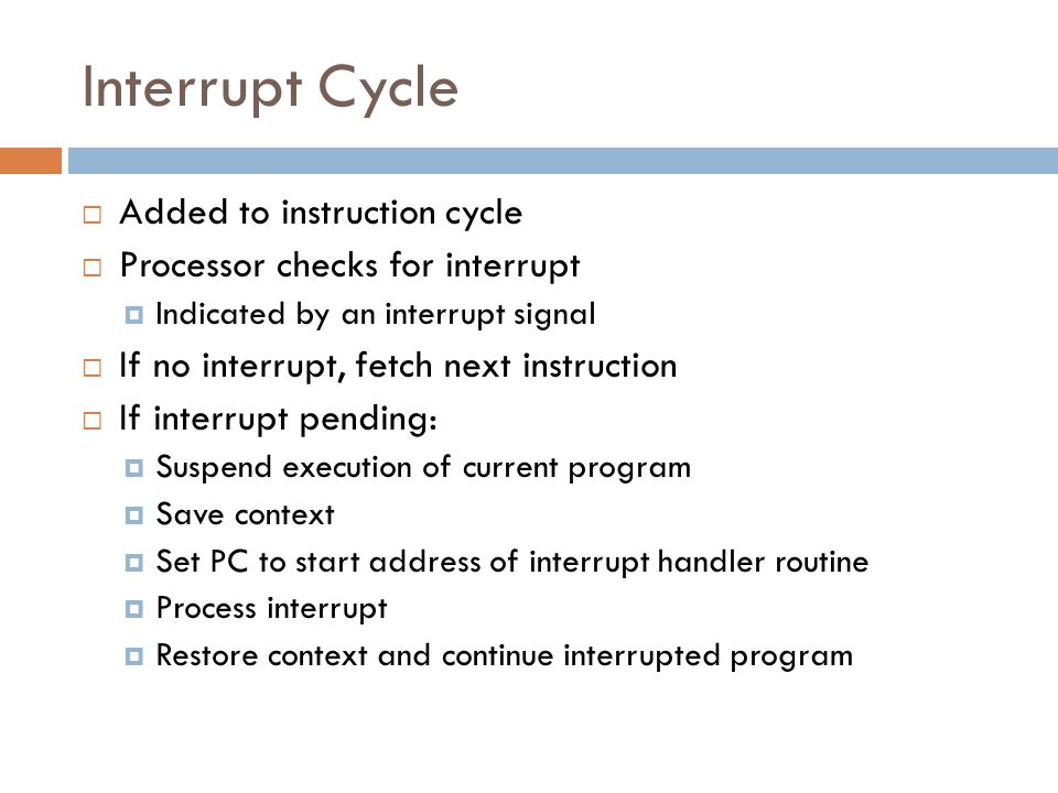 Interrupt Cycle Added to instruction cycle