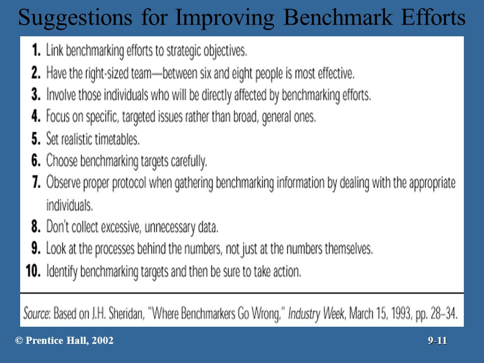 Suggestions for Improving Benchmark Efforts