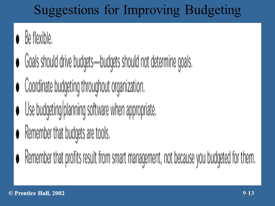 Suggestions for Improving Budgeting