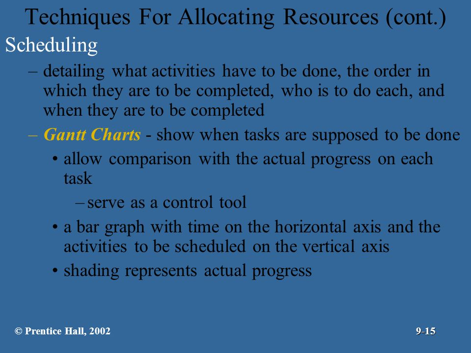 Techniques For Allocating Resources (cont.)