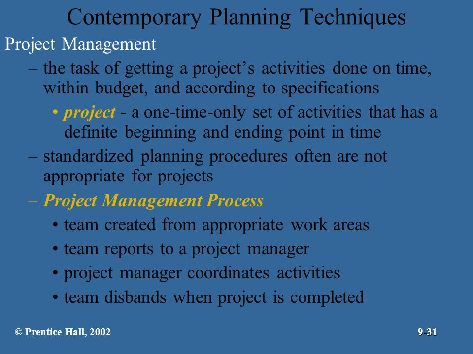 Contemporary Planning Techniques