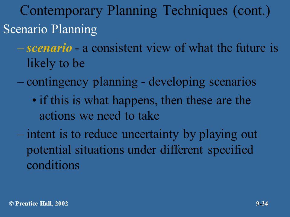 Contemporary Planning Techniques (cont.)