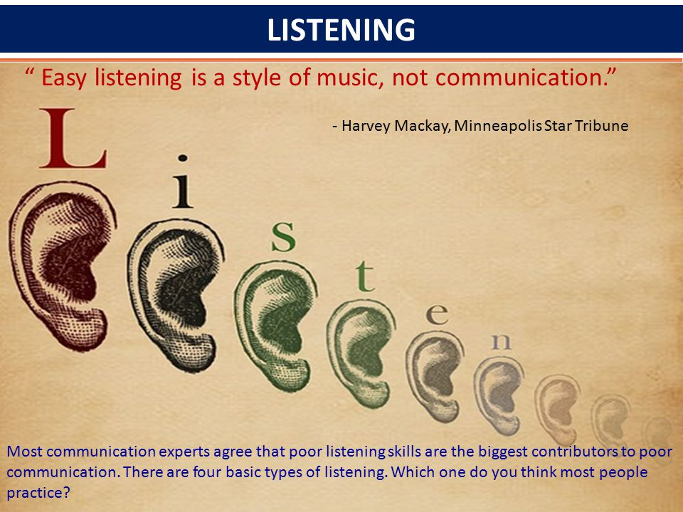 LISTENING Easy listening is a style of music, not communication.
